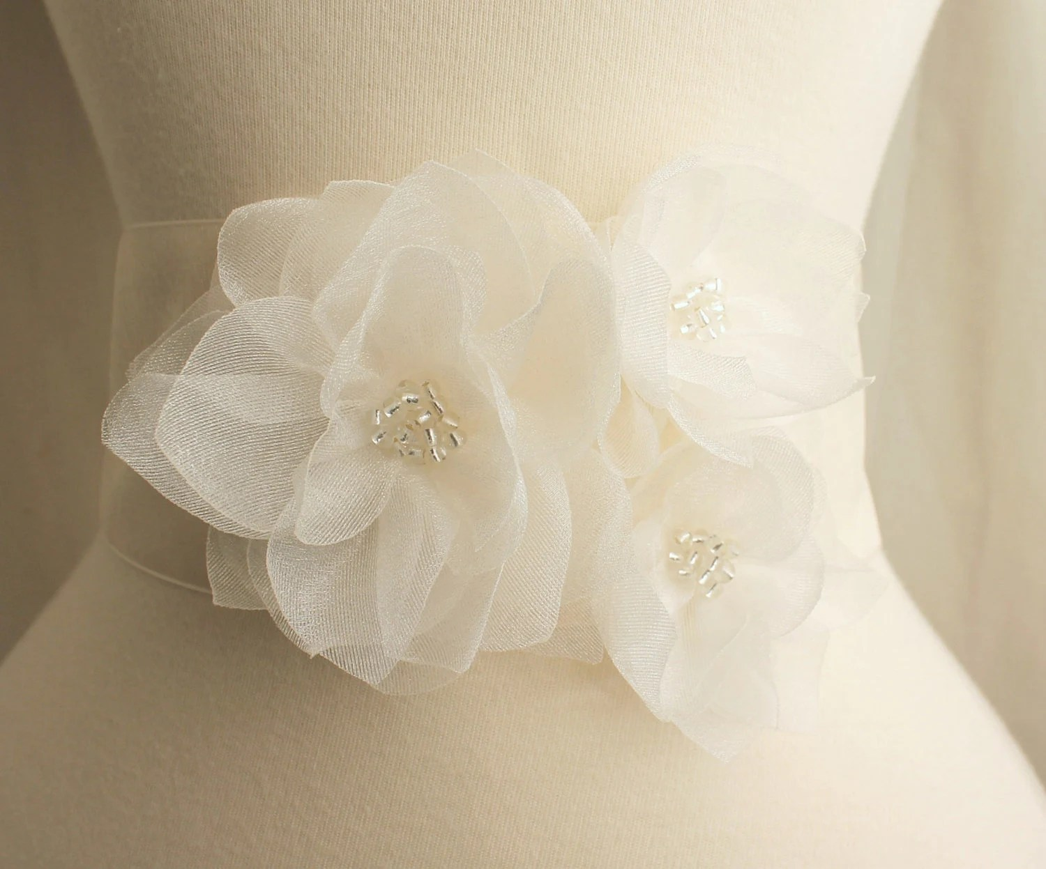 fall wedding sash wedding sash Bridal Organza Dahlia Floral Sash Ivory Bridal Sash Belt Flower girl Bridesmaids Sash Set Wedding Gift Accessory