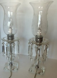 Beautiful Vintage Crystal Hurricane Lamps with Hanging Prisms