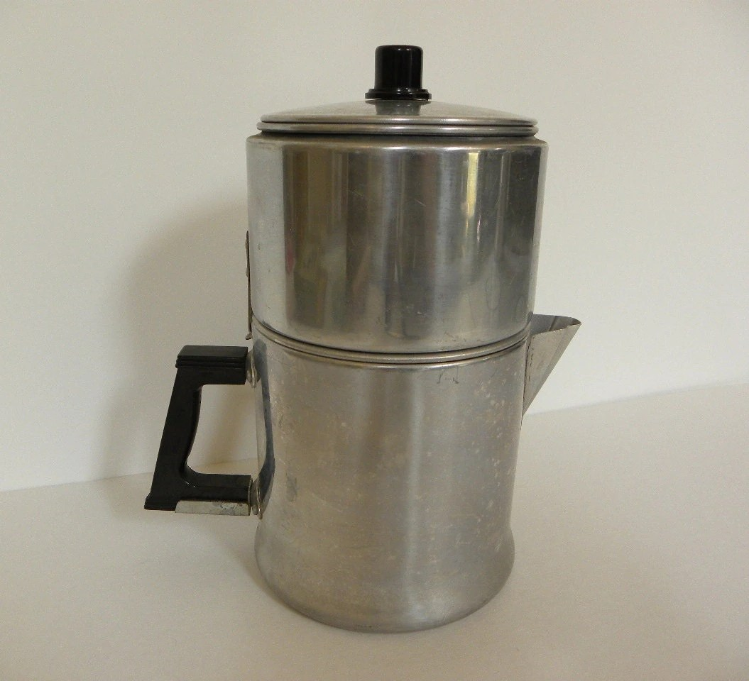 Coffee Pot Planter Vintage Drip Coffee Maker 6 Cup Aluminum Drip O