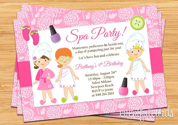 Spa Party Kids Birthday Invitation by EventfulCards Catch My Party - kids birthday invites