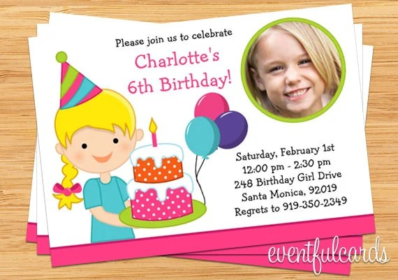 Little Girl Birthday Party Invitation with Photo by EventfulCards - girl birthday party invitations
