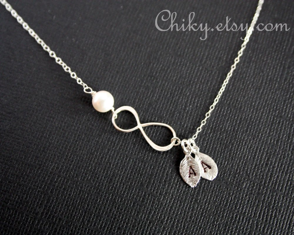 Personalized Vertical Infinity Necklace Two Initial Leaf And
