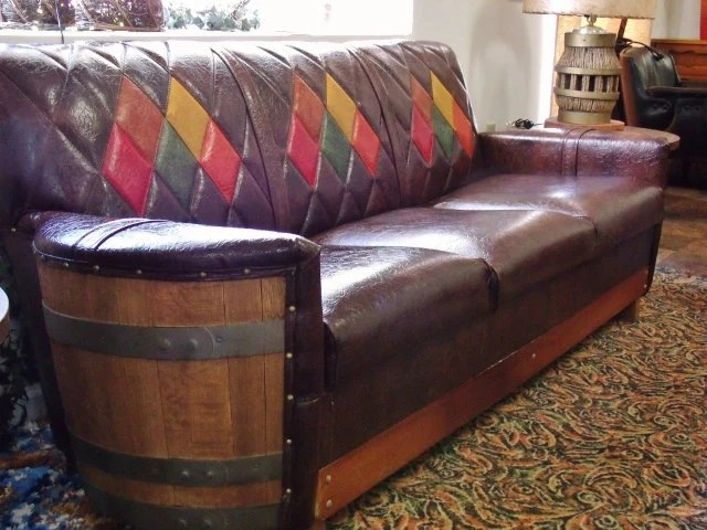 Vintage Sofa With Built In End Tables Five Piece Wooden Barrel Western Livingroom Furniture By
