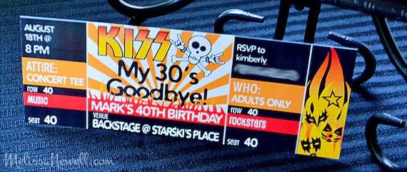 Birthday INVITE - Rocker Party - Concert Ticket INVITE - KISS my 30s - concert ticket birthday invitations