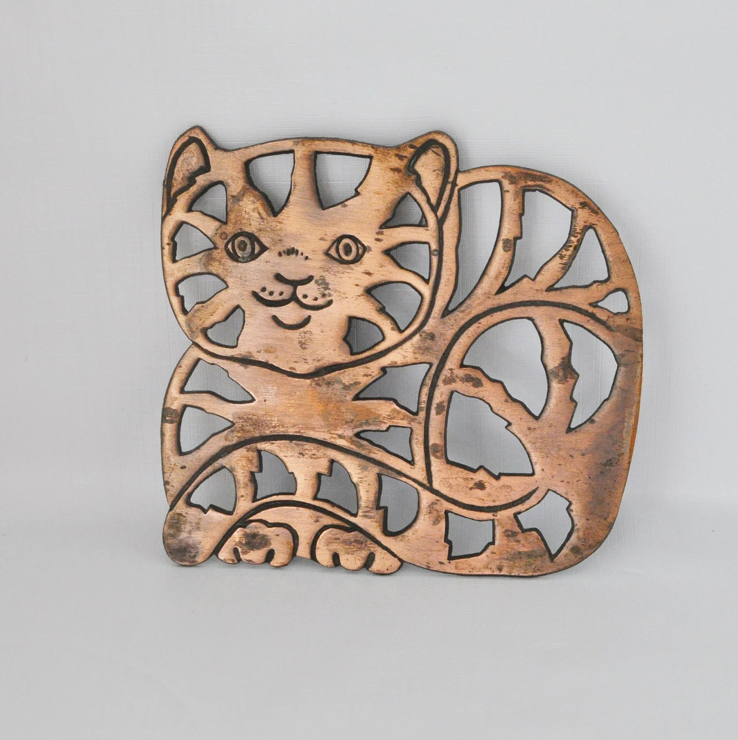 Cat Wall Art Metal Vintage Kitchen Wall Decor