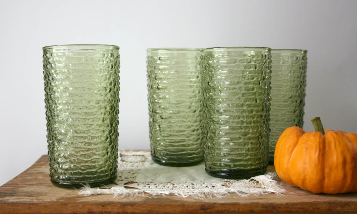 Farmhouse Drinking Glasses Vintage Green Drinking Glasses Anchor Hocking 12 Oz Avocado
