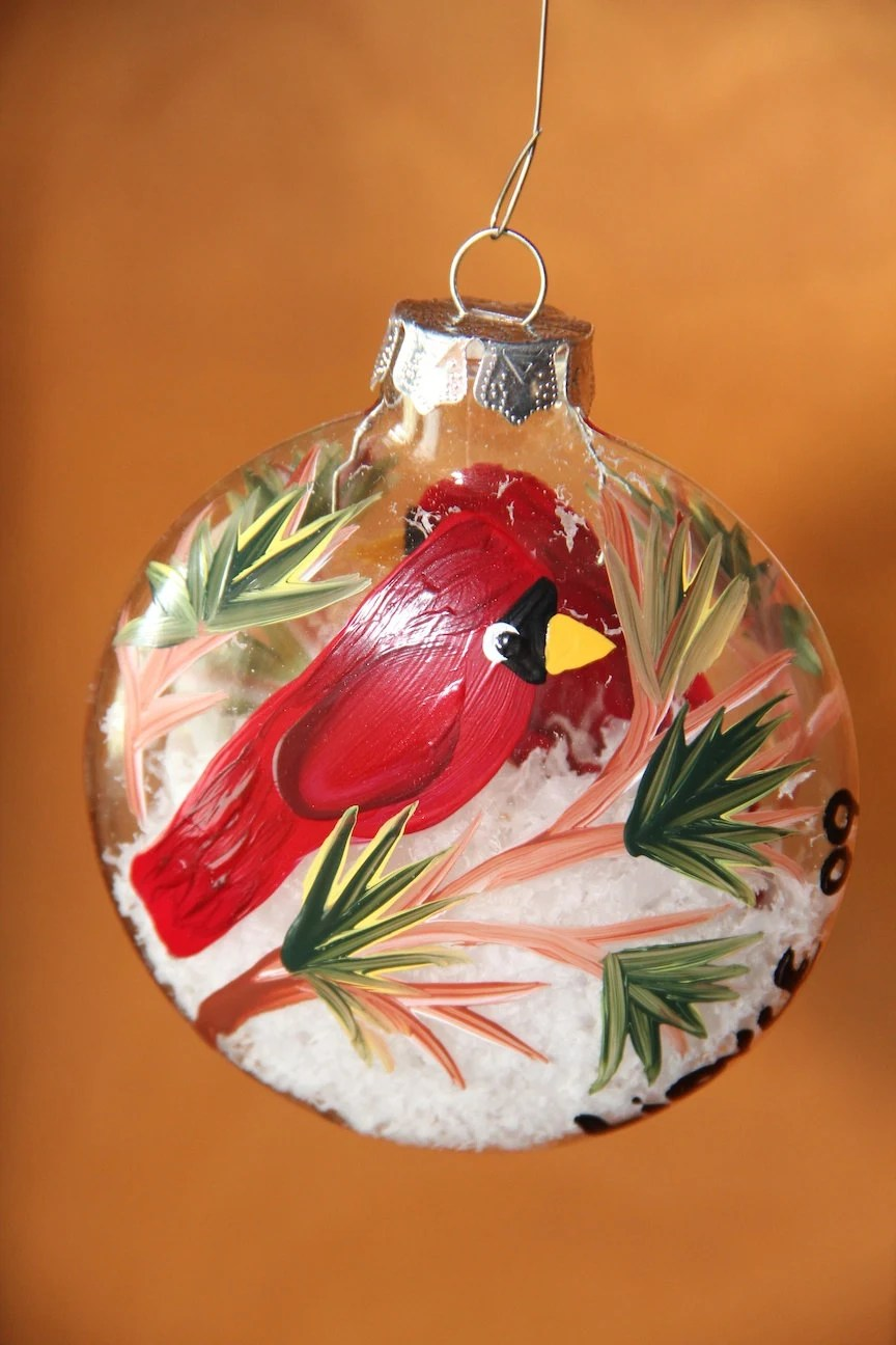 Items Similar To Hand Painted Glass Christmas Tree Holiday