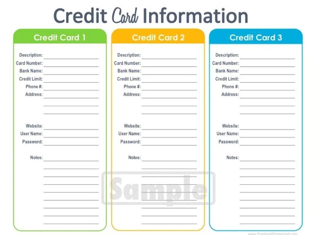 credit card balance sheet template