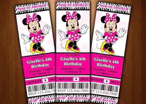 Minnie Mouse ticket invitation printable diy invite RED or - ticket invitation
