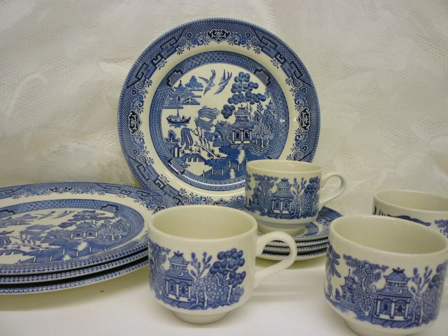 Vintage Churchill China Blue Willow Dinnerware By