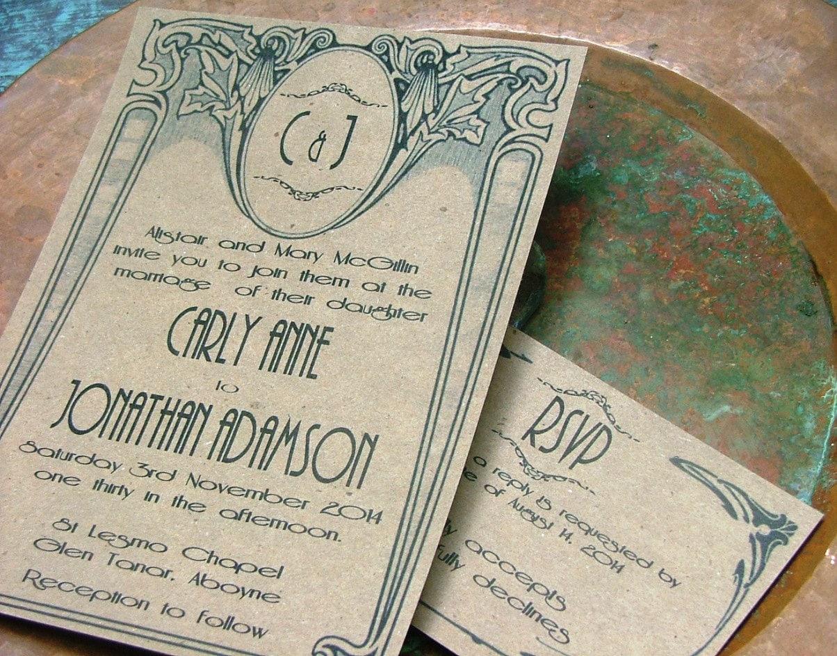 art deco wedding invitations great etsy wedding invitations Wedding Invitations zoom