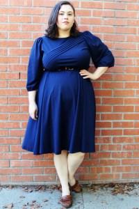 Plus Size Vintage Navy Swing Skirt Dress Size 20/22