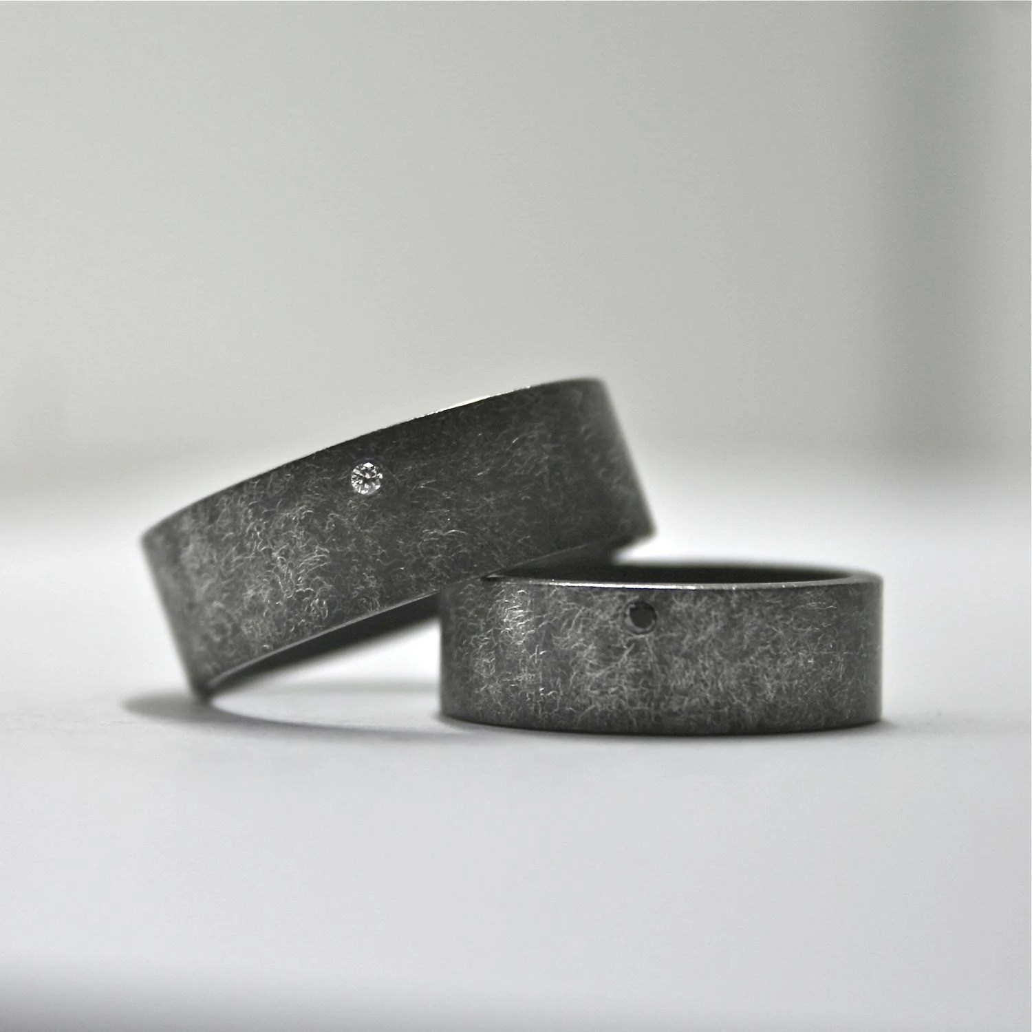 oxidized sterling silver and diamond unique mens wedding rings zoom