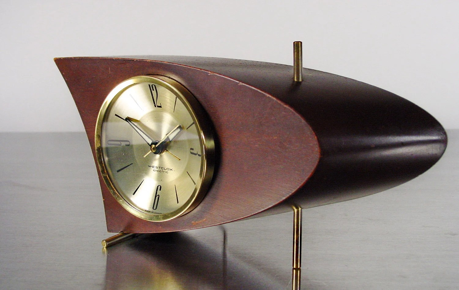 Table Clock Modern Midcentury Modern Table Clock Boomerang Clock Westclox 707