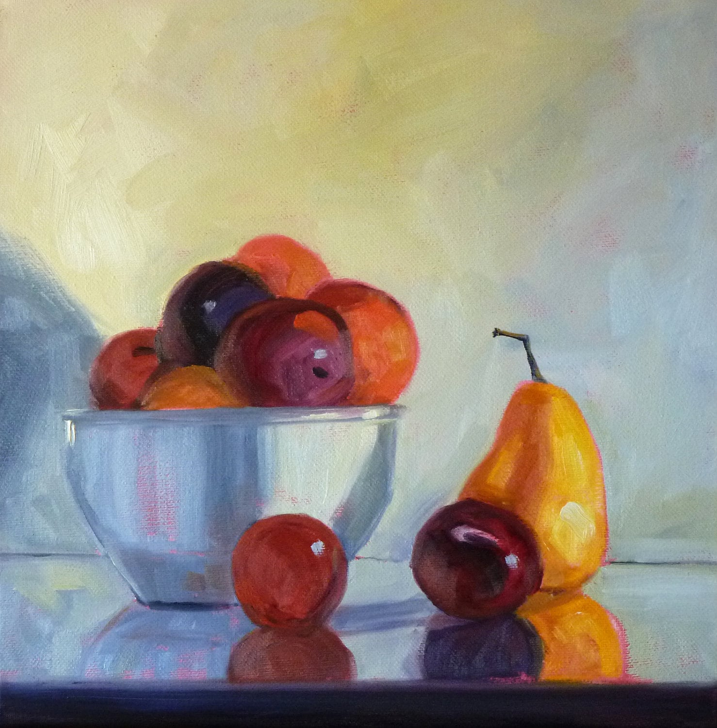 Colorful Fruit Bowl Still Life Oil Painting Original 12x12 On By Smallimpressions