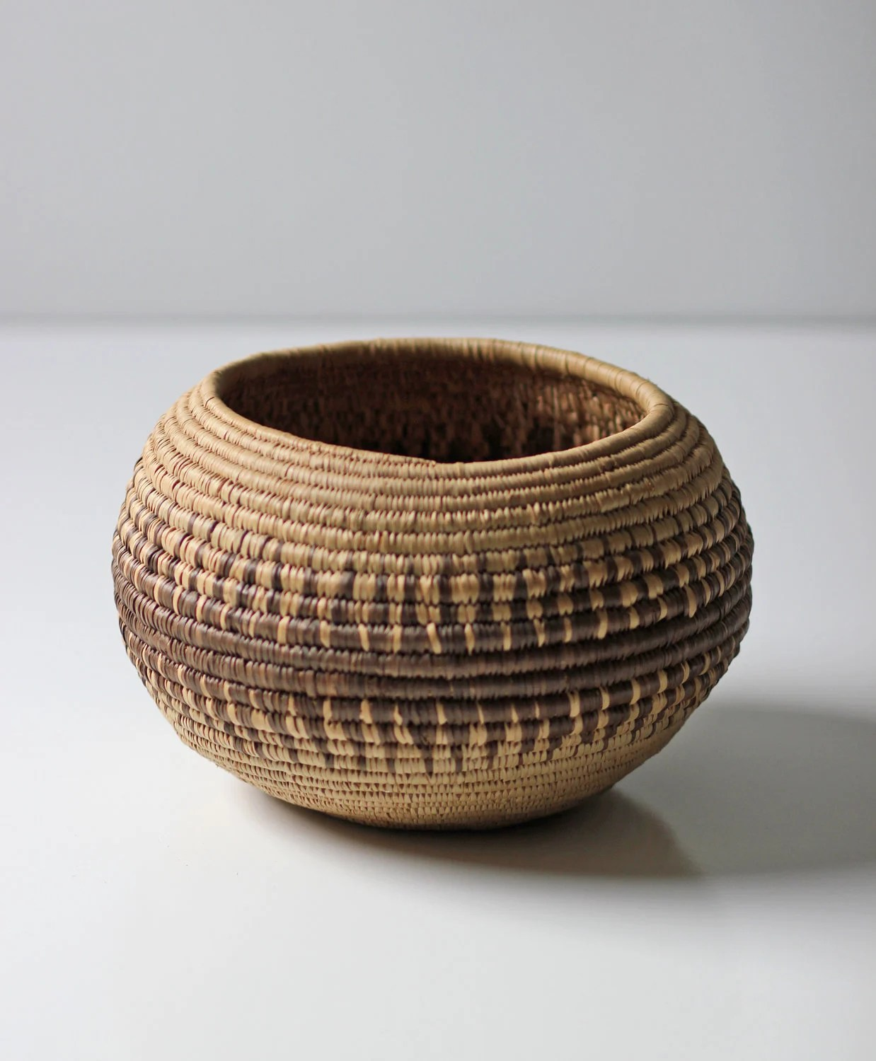African Woven Hamper Vintage Round African Woven Basket
