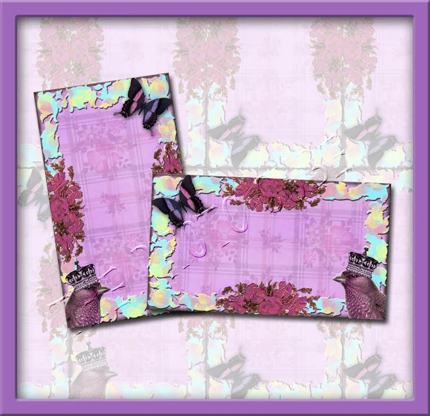LaVenDeR BirD BuTTeRfLy  FLoWERS -LaYERED ShAbbY cHiC Hang/GiftTags