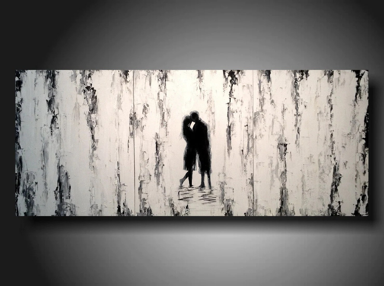 Silhouette Paintings Of People Large Black And White Silhouette Painting White And Black