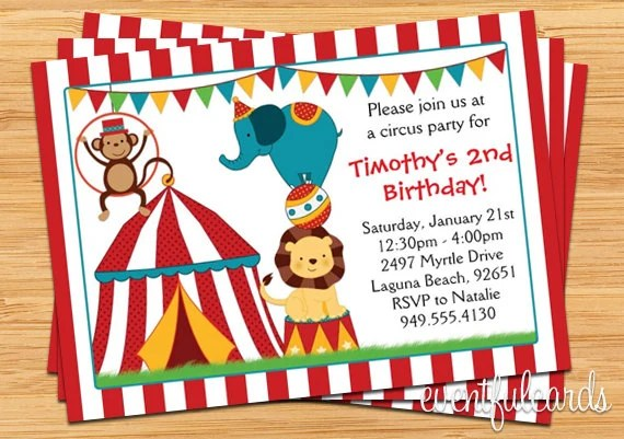 Circus Birthday Party Invitation for Kids by EventfulCards Catch - circus party invitation