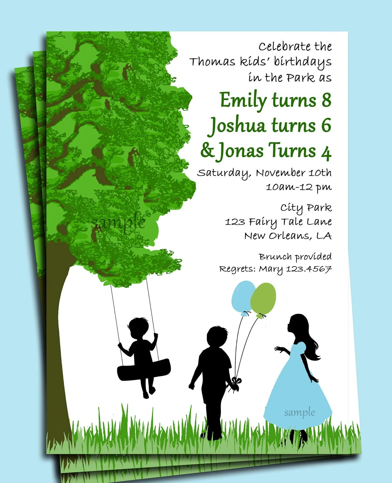 Park Playground Backyard Birthday Invitation Printable or Print with