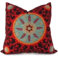 Colorful Tufted Tribal Suzani Decorative Pillow Cover 18x18