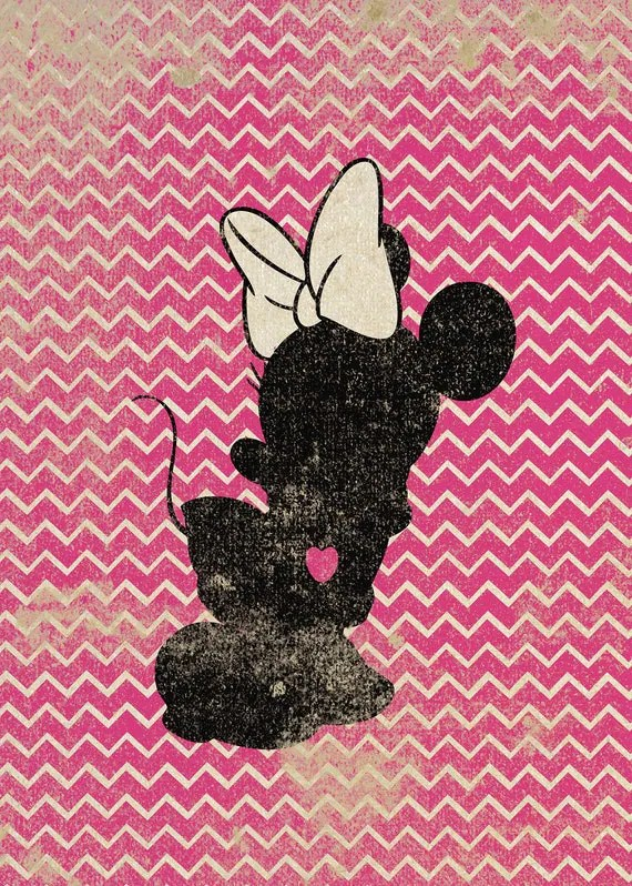 Disney Princess 3d Wallpaper Minnie Mouse Inspired Silhouette On Chevron Background 5x7
