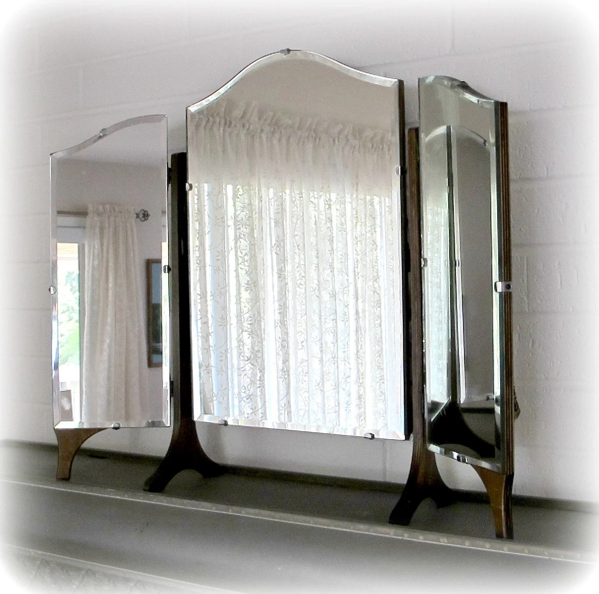 Beveled Mirror Wood Frame Antique Mirror Trifold Dresser Or Vanity Mirror With Three