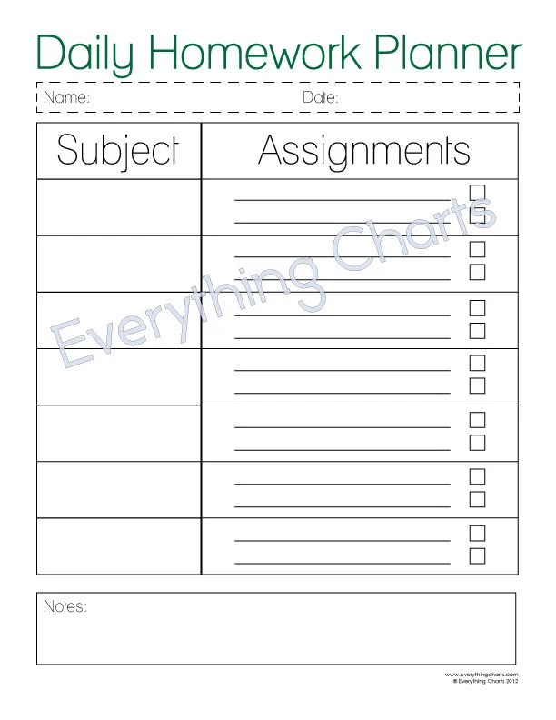Daily Homework Planner PDF File/Printable - printable assignment sheet