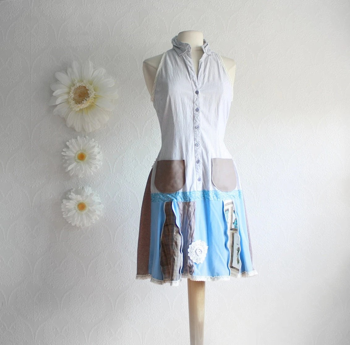 Unique Clothing Plus Size Women's Upcycled Dress Bohemian Clothing Light Blue Drop