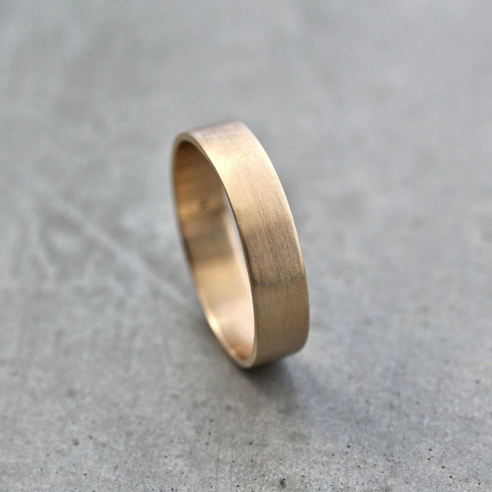 mens gold wedding band unisex 5mm wide mens gold wedding rings Gold Wedding Ring zoom