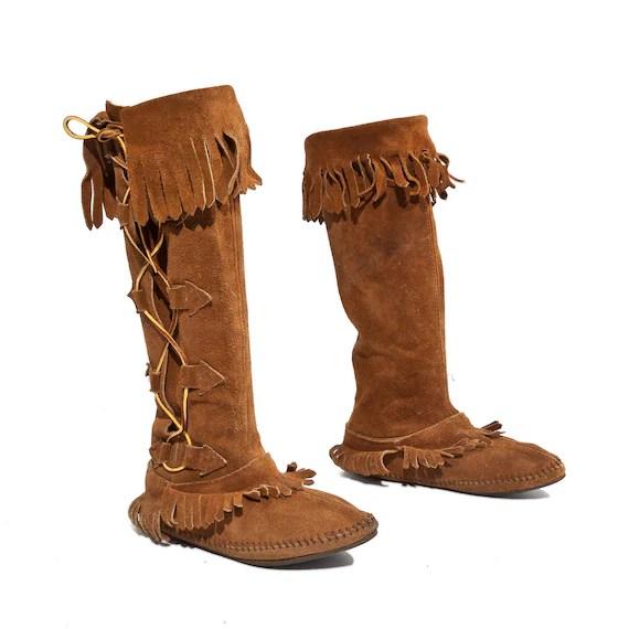 Vintage Taos Knee High Fringe Moccasins Leather Lace Up Boots