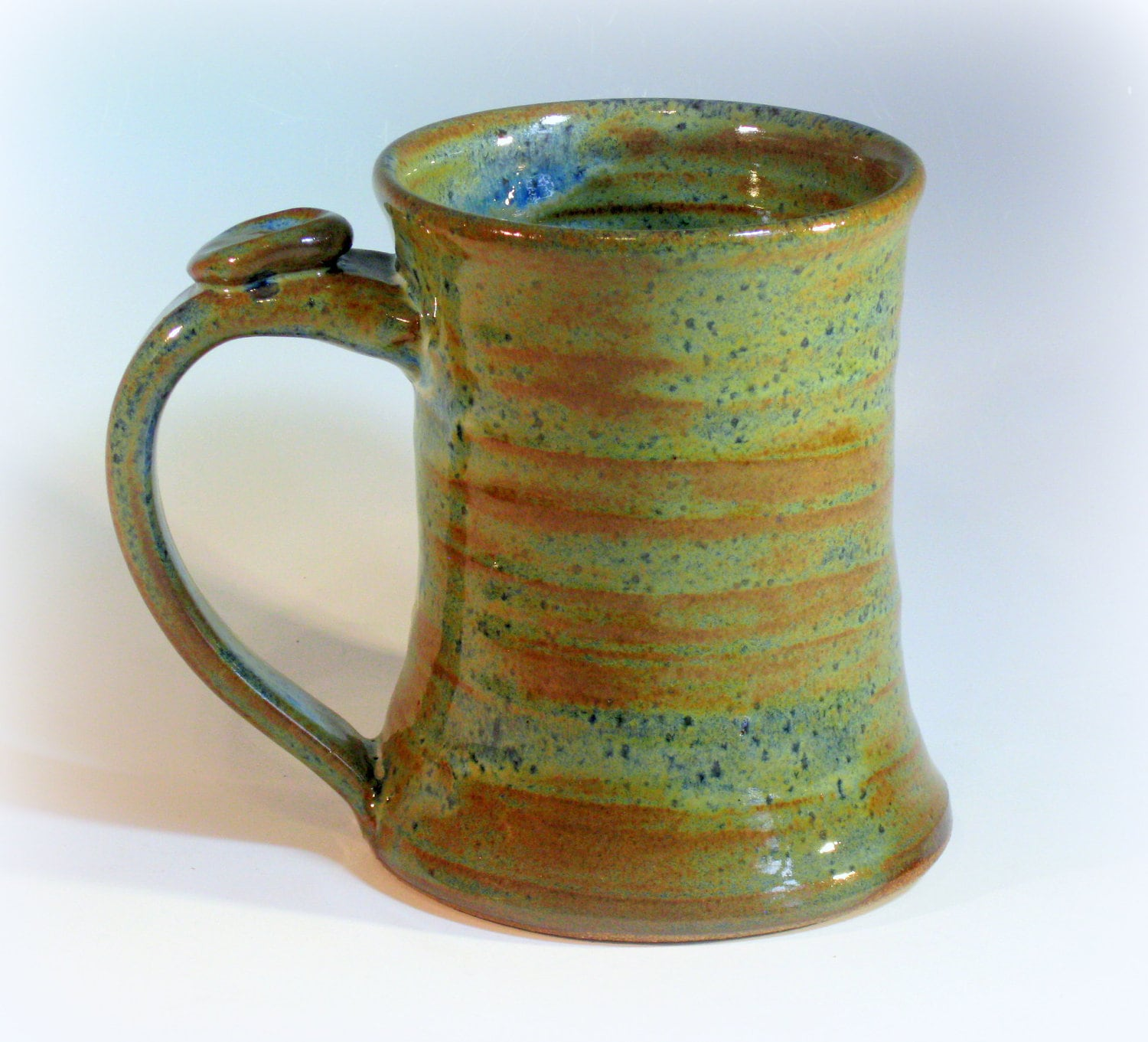 Large Ceramic Coffee Mug Pottery Coffee Cup Blue Green