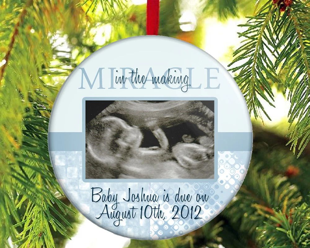 Expecting a baby boy christmas ornament with your photo