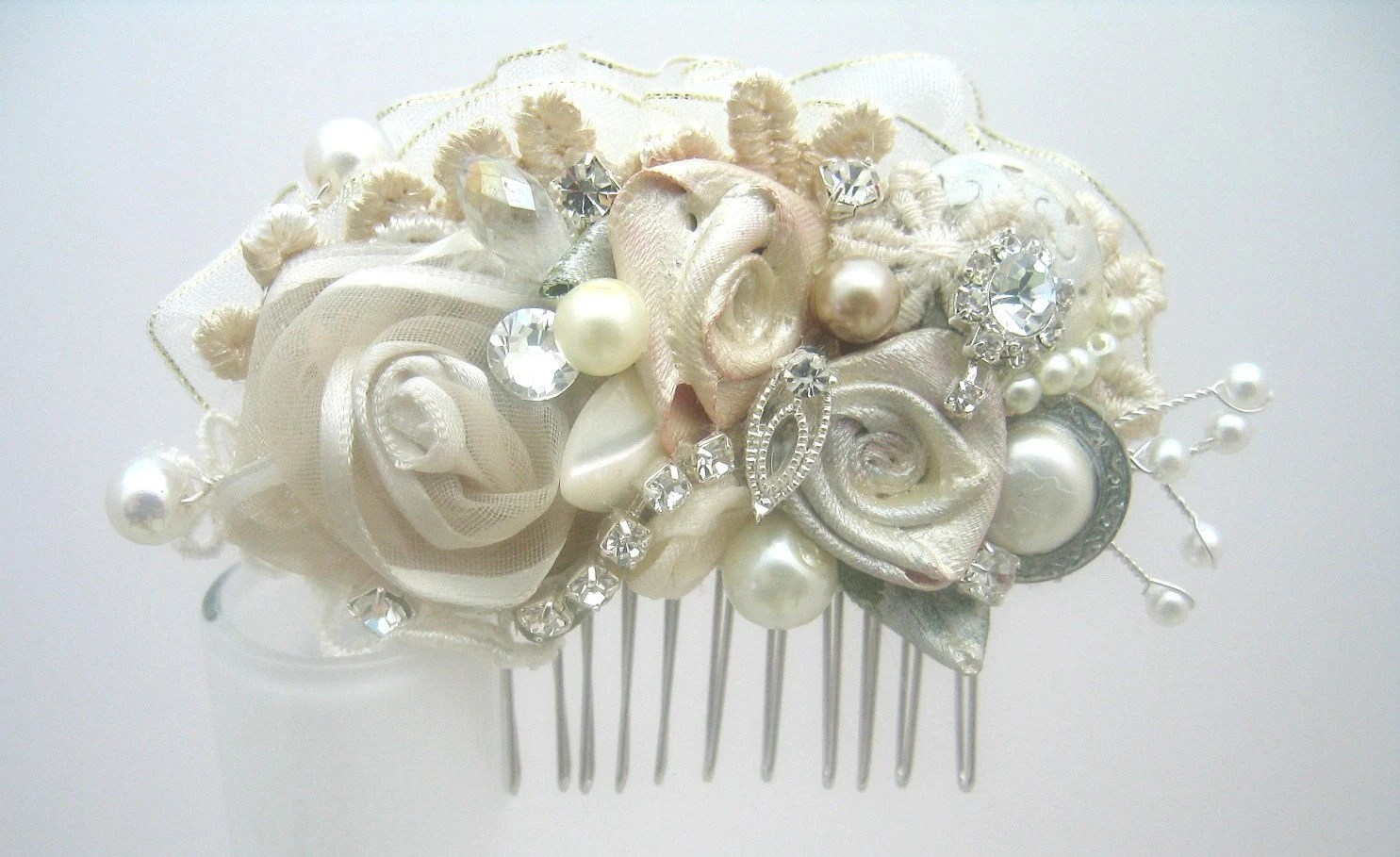 brass hair piece wedding hair pieces Vintage Inspired Ivory Bridal Hair Clip Lace Floral Wedding Hair Piece Wedding Hair Accessories Statement Hairclip Brass Boheme
