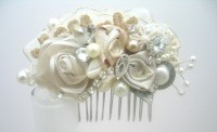 Vintage Inspired Ivory Bridal Hair Clip Lace & Floral Wedding