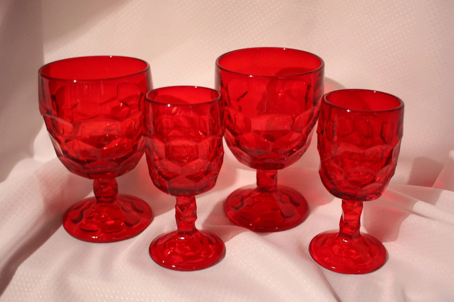 Crystal Stemware For Sale Sale Georgian Ruby Red Crystal Glassware Wine Glasses