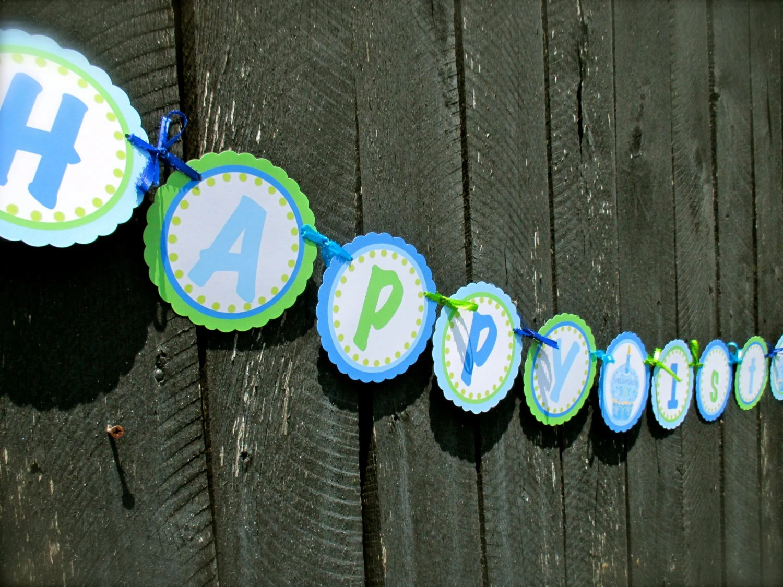 Items similar to First Birthday Boy Happy 1st Birthday (Name), Blue