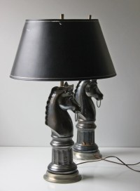 reserved.....pair of black ceramic horse bust table lamps