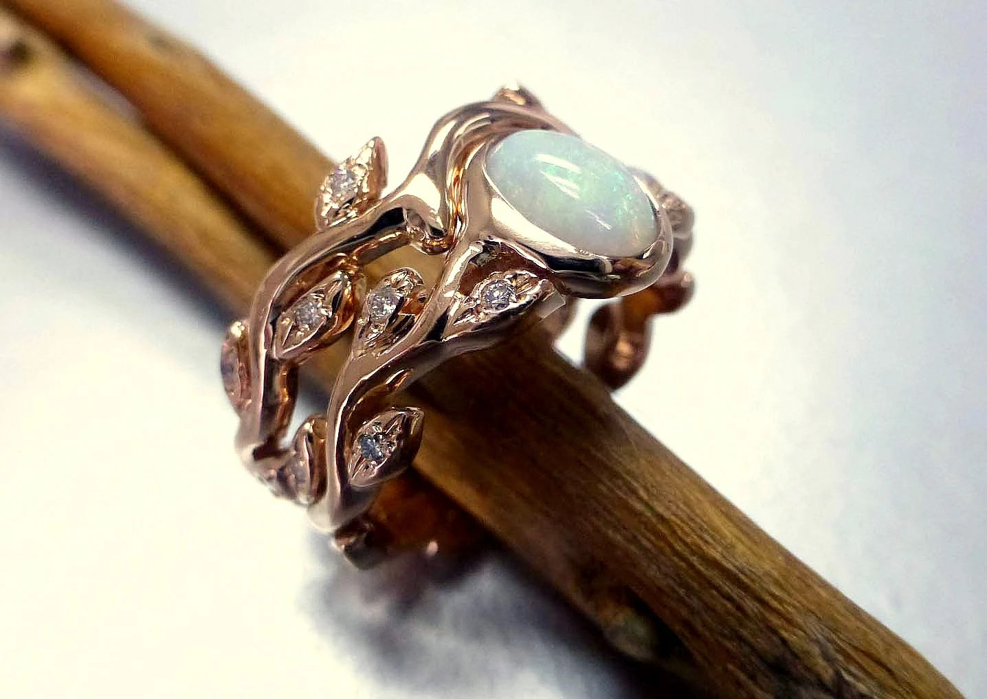 engagement ring with opal and diamonds blue opal wedding rings Leaf engagement ring set zoom