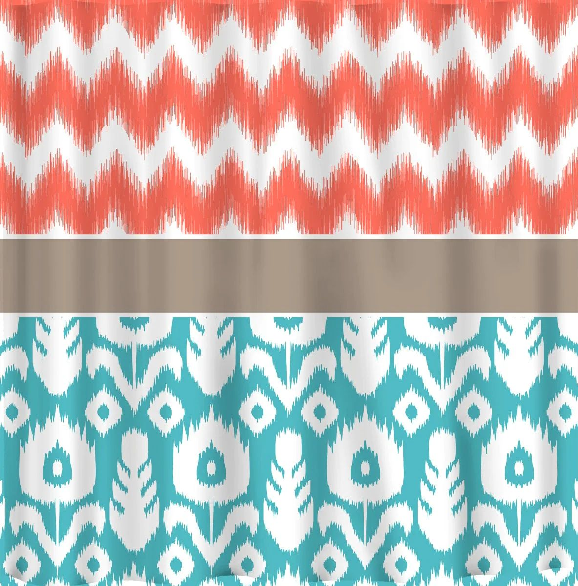 Coral and turquoise shower curtain submited images
