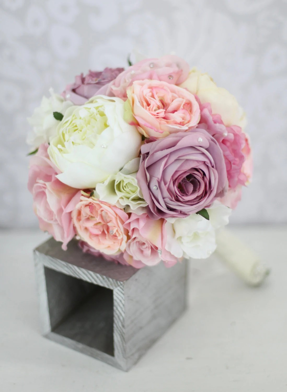 Peony Love Quote Wallpaper Silk Bride Bouquet Peony Pink Cream Purple By Braggingbags
