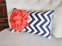 Coral Flower on Navy Chevron Lumbar Pillow Decorative Throw