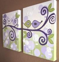Wall Art Lavender Purple and Green Modern Bird by