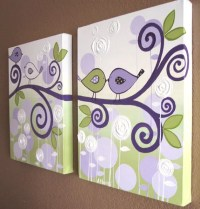 Wall Art Lavender Purple and Green Modern Bird by ...