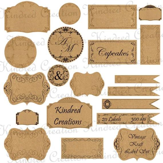 Vintage Kraft Paper Labels Monogram Tags Circle Frame - label