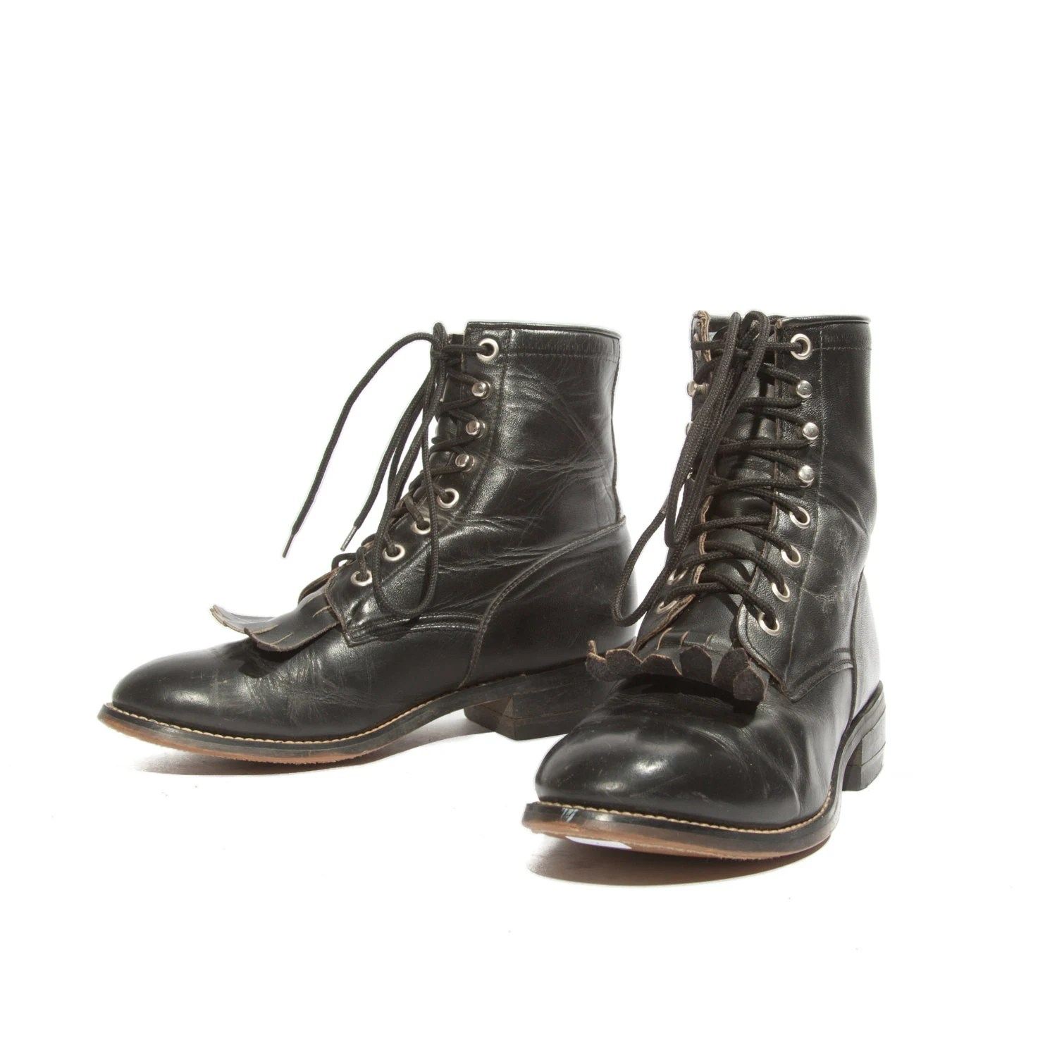 Women39s Shorty Lace Up Justin Roper Boots Black Leather By
