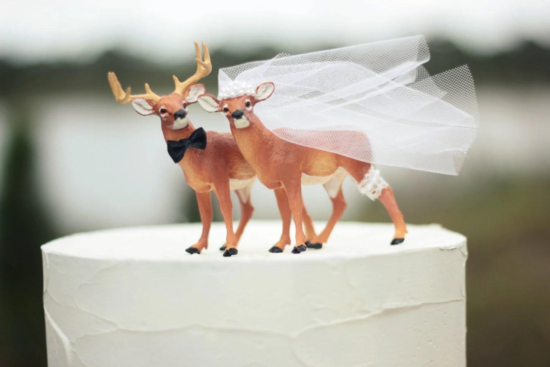 deer wedding cake topper hunting wedding wedding cake topper zoom
