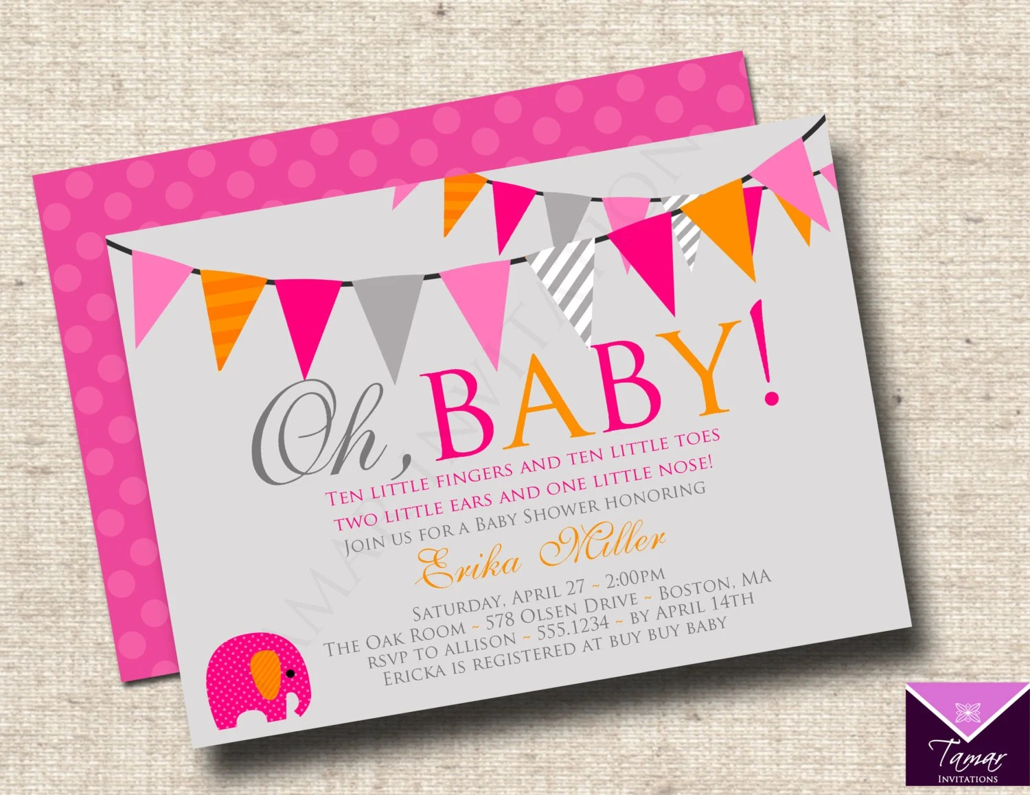 Printable OH BABY - Modern Baby Shower Invitations - Baby Boy or - Printable Baby Shower Invite