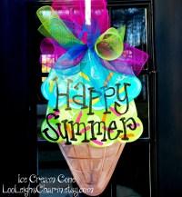 Ice Cream Summer Wreath Summer Door Hanger Ice Cream Party