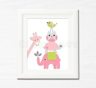 Pink and green nursery wall art Nursery Art Print by ...